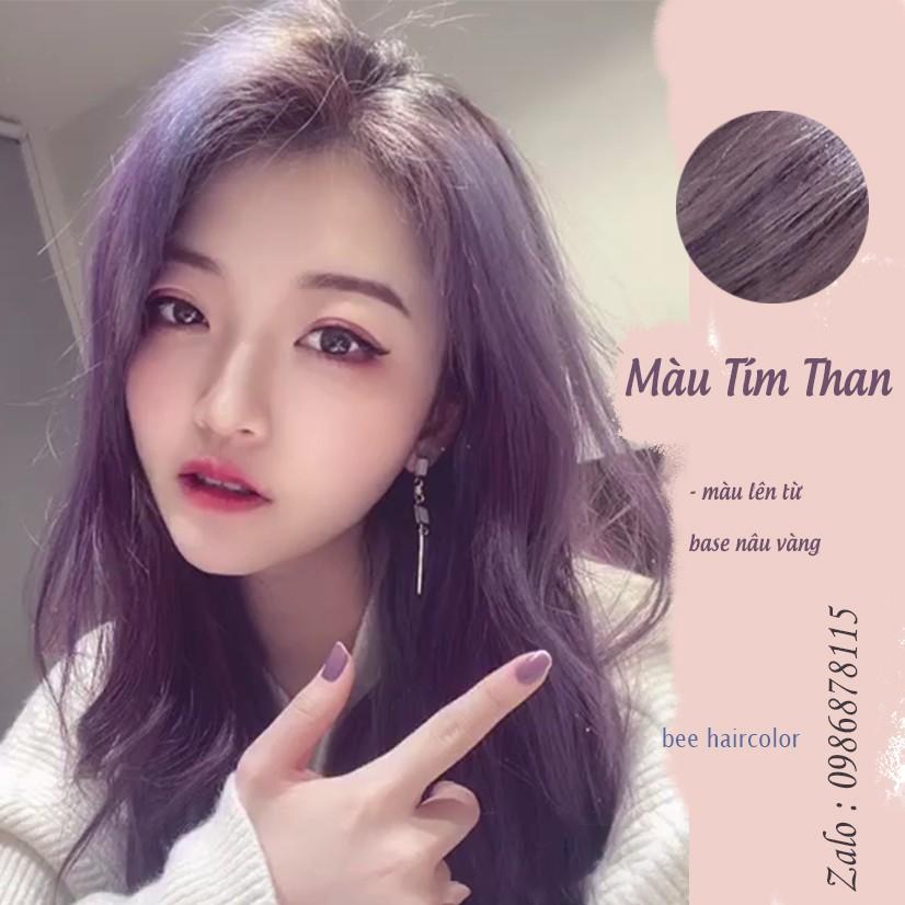 [ Không Tẩy ] Thuốc Nhuộm tóc Tím Than .  kèm bao tay + oxy trợ dưỡng