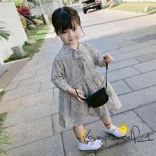 ♛loveyourself1♛-Little Girl Summer Cotton Dress Loose Leaves Pattern Long Sleeve Waist Design Long Straps Neck Dress