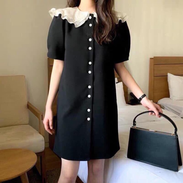 Đầm phố trắng đen