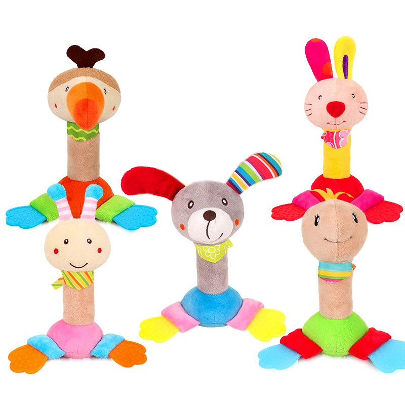 ZOOTime Baby Rattle Toys Animal Hand Grasp Plush 0-3 Years Puppy