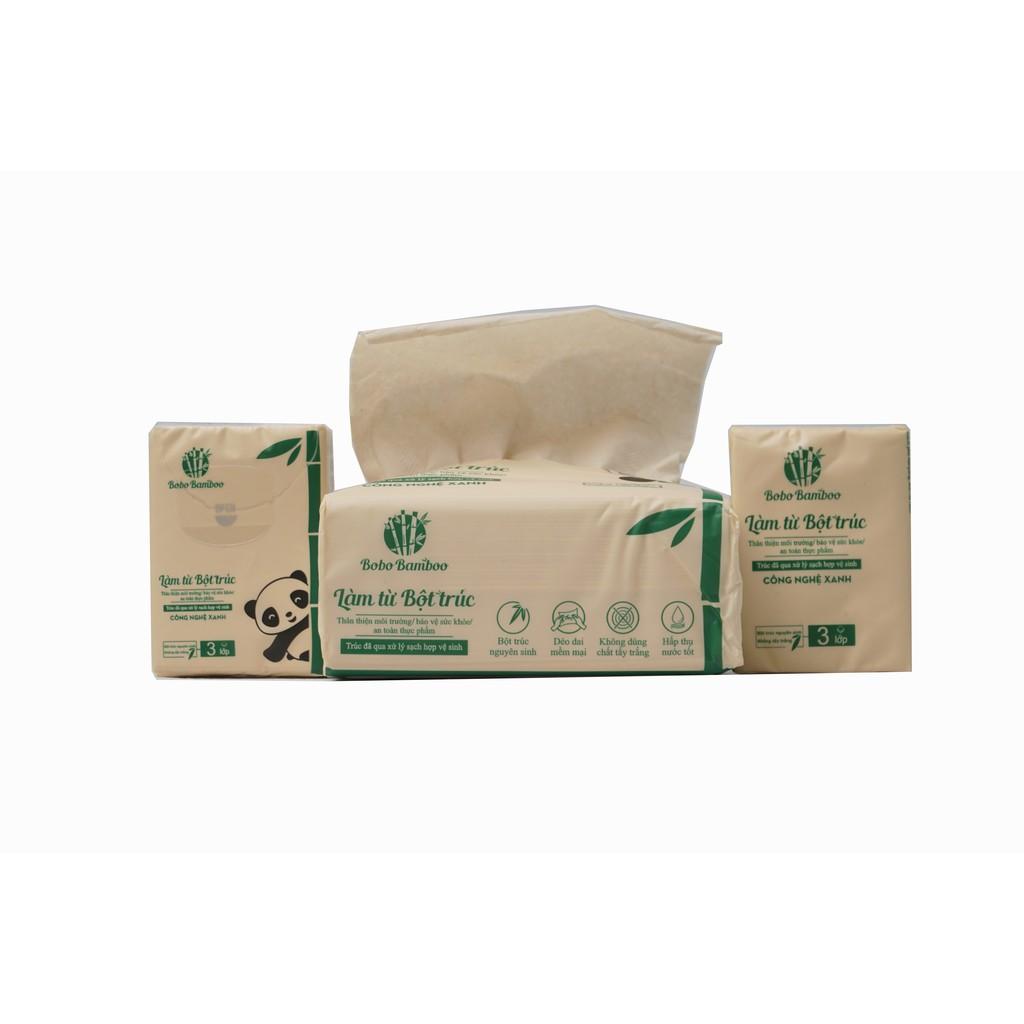 Combo 17 gói khăn giấy rút + 10 gói khăn giấy bỏ túi làm từ bột trúc siêu dai Bobo B
