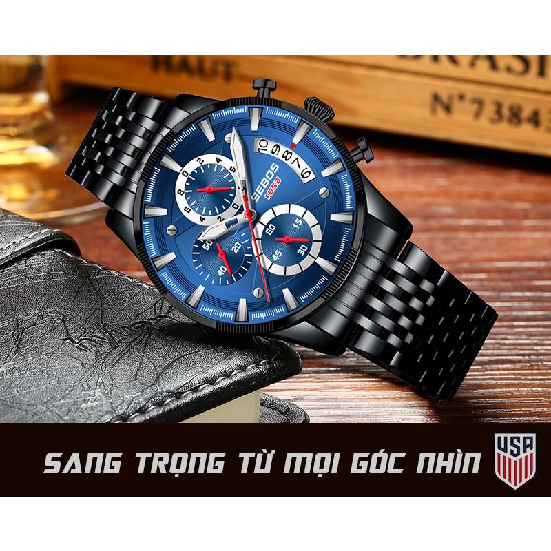Đồng Hồ Nam SEBOS USA Xanh Đen Nam Tính, Chống Nước Tốt