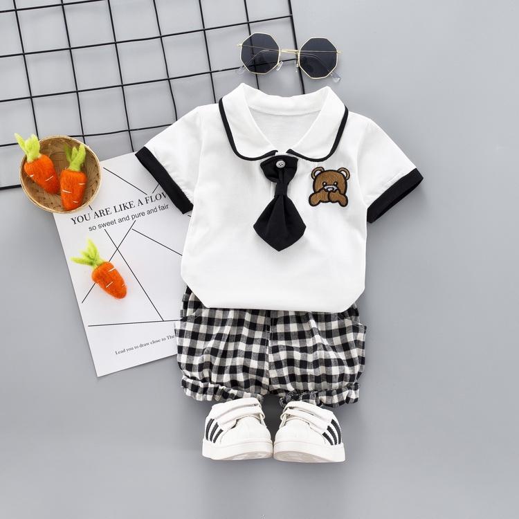 Set áo cổ bẻ tay ngắn phối cà vạt + quần ngắn sọc ca rô dễ thương cho bé