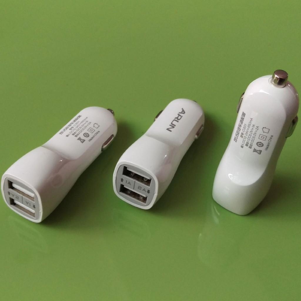 CỐC SẠC XE HƠI ARUN 2 cổng USB 1A và 2A -Hàng nhập khẩu
