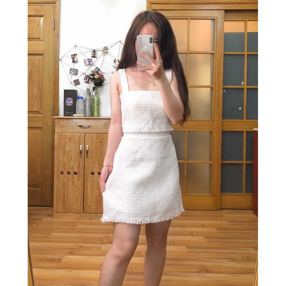 Set áo váy bố trắng Chichi đi đám cưới, dạo phố cực hot - 3176857 , 1260502745 , 322_1260502745 , 360000 , Set-ao-vay-bo-trang-Chichi-di-dam-cuoi-dao-pho-cuc-hot-322_1260502745 , shopee.vn , Set áo váy bố trắng Chichi đi đám cưới, dạo phố cực hot
