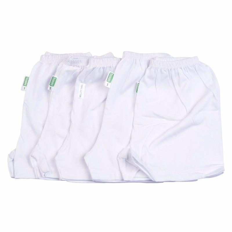 Set 10 quần sơ sinh Bosini gồm: 5 dài, 5 ngắn màu trắng cho bé từ 0-12 tháng