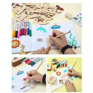 Shop Lychaki Xin Kính Chào Quý Khách Bộ khuôn vẽ cho bé bằng gỗ _dth_