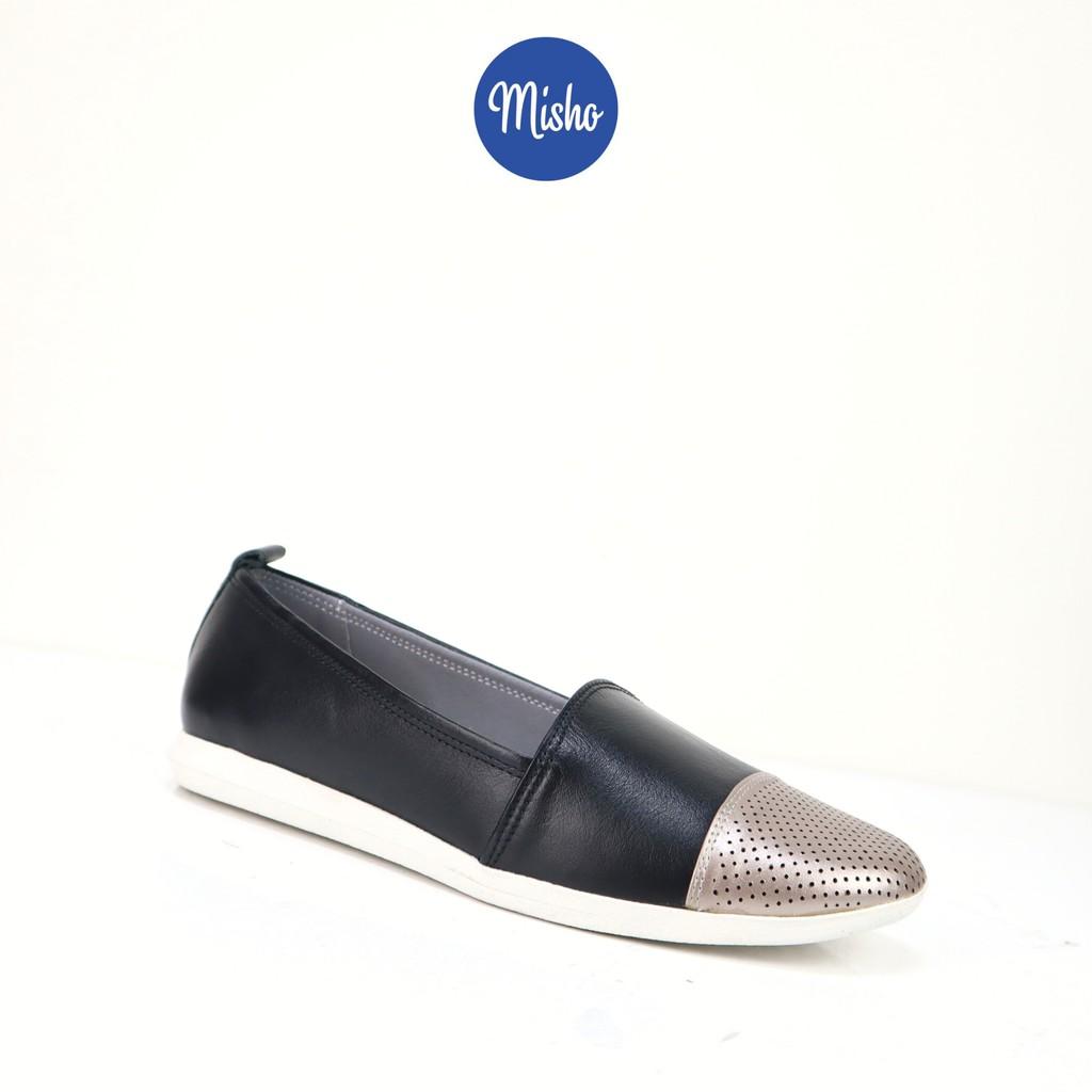 Giày mọi nữ da thật phối màu đế bệt Misho 1157