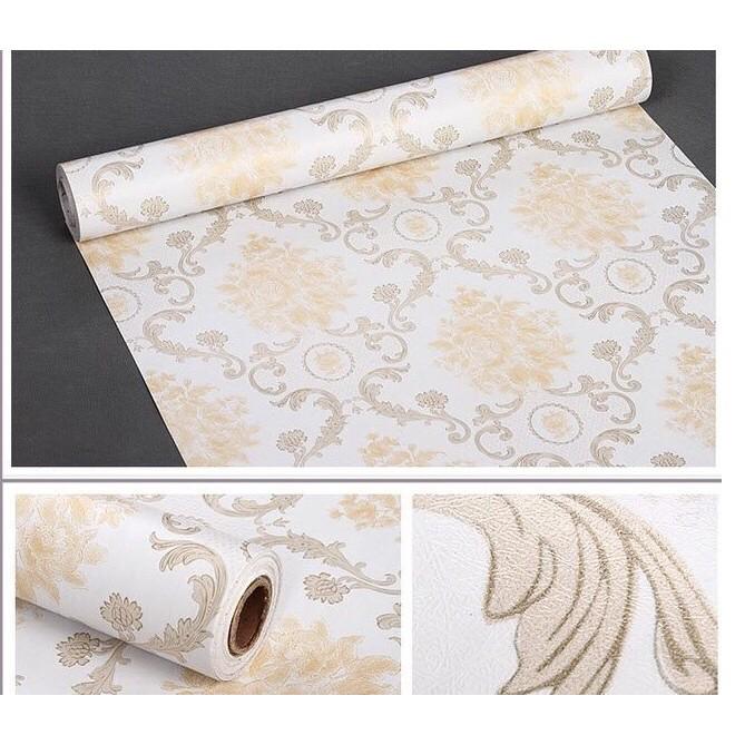decal giấy dán tường châu âu nâu kem