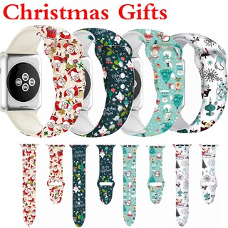 Printed sport band for Apple Watch 38mm 40mm 42mm 44mm Series 6 SE 5 4 3 2 1 Silicone strap for iWatch 5 44mm Christmas gift