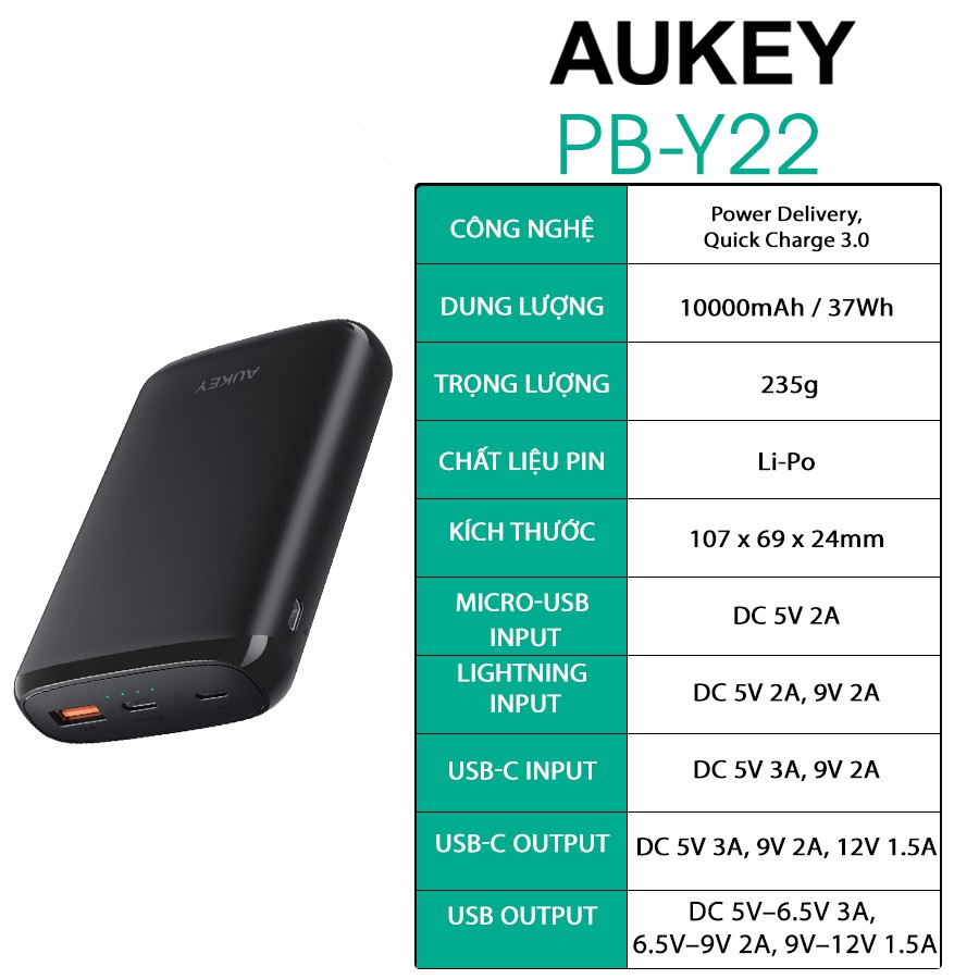 [Mã AUKEY100 giảm 100K đơn 329K] Pin sạc dự phòng AUKEY PB-Y22 Sạc Nhanh Quick Charge 3.0 Kèm Cổng Type C PD 18W