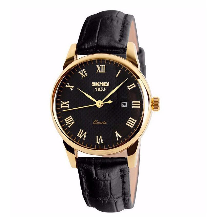 Đồng hồ cặp nam nữ Skmei giá 1 đôi dây da viền vàng tặng pin