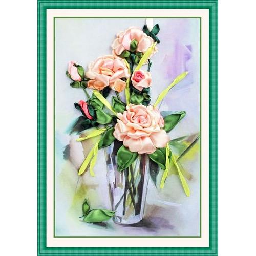(HÀNG ORDER) Tranh thêu ruy băng bình hoa hồng