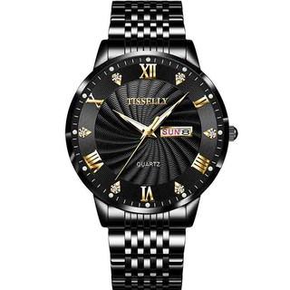 Đồng hồ nam TISSELLY T9009 chạy 2 lịch thiết kế sang trọng không thấm nước 3ATM dây hợp kim thép cao cấp