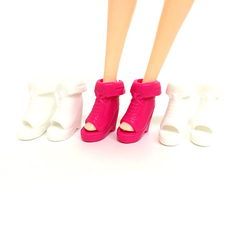 Baω 5 Pairs dolls plastic sandals dance shoe bowknot high-heel shoes christmas gift ωby