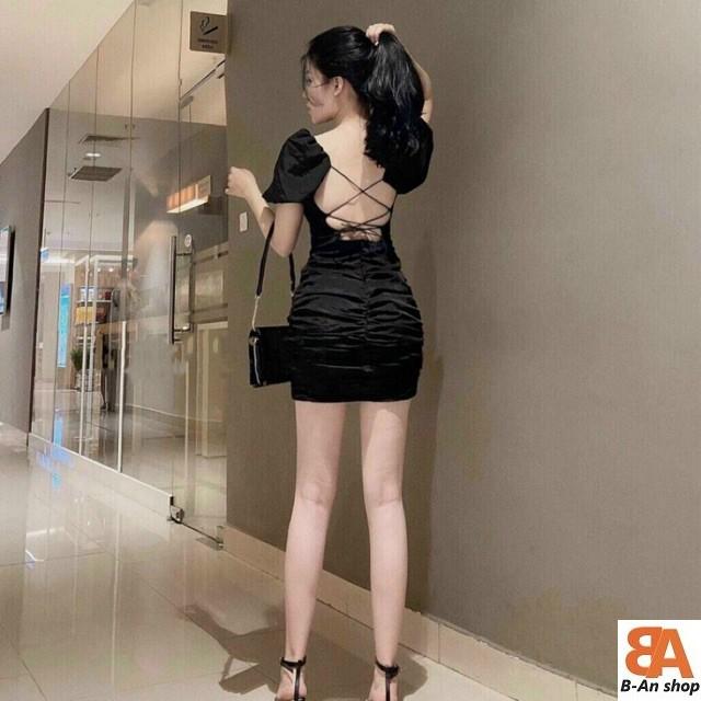 Đầm body đan dây lưng thun borip ( có mút ngực)