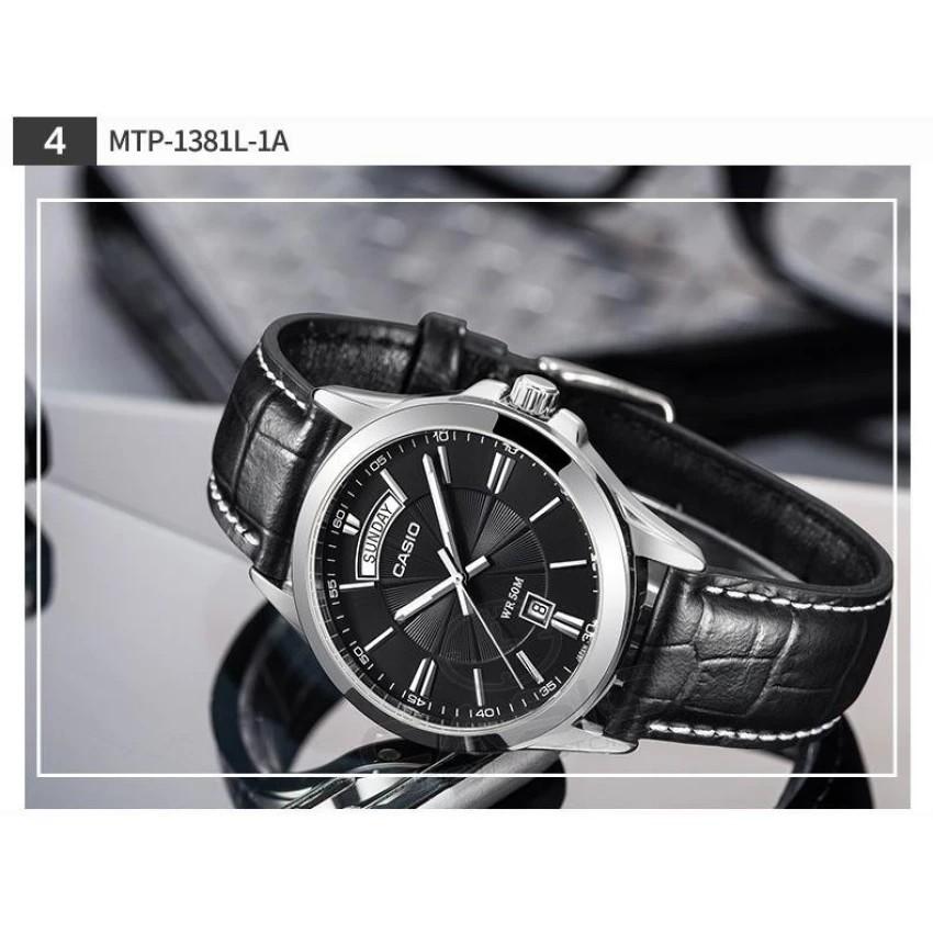 Đồng hồ nam dây da Casio chính hãng Anh Khuê MTP-1381L-1AVDF