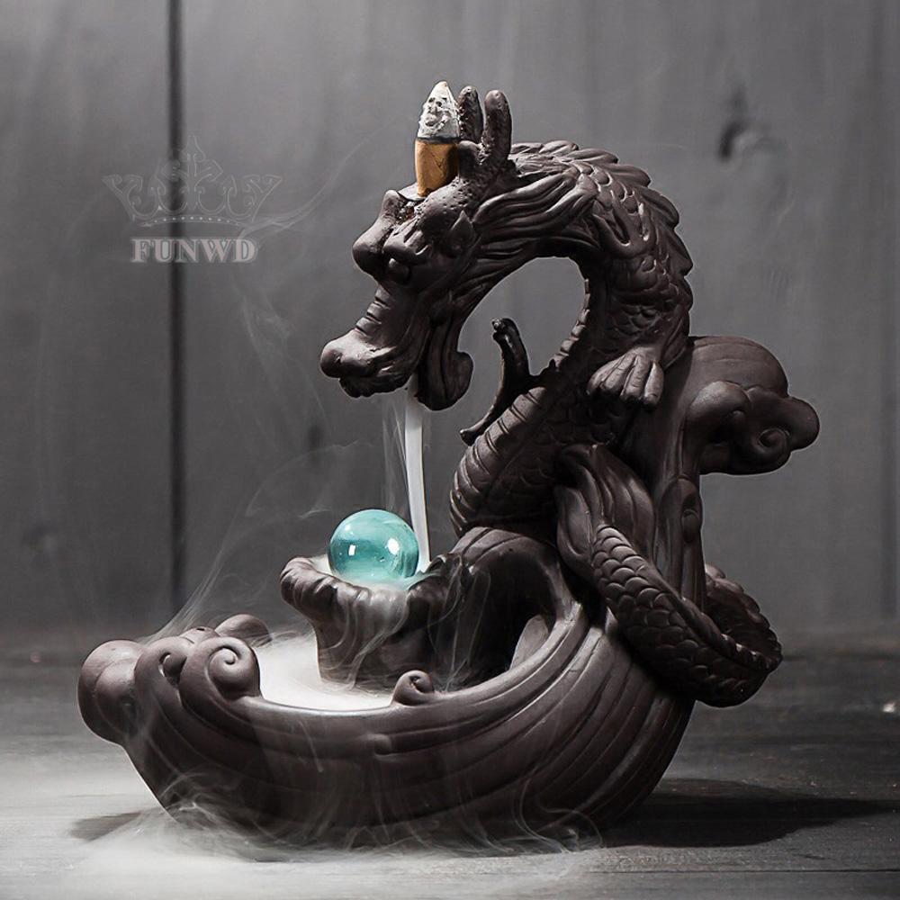Lư hương chảy ngược bằng sứ hình rồng