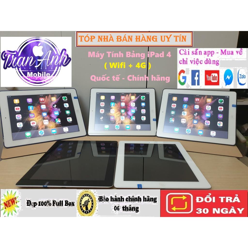 Mã ELMS4 giảm 7% đơn 500K] Máy Tính Bảng iPad 4 - 32/ 16Gb (Wifi + 4G)- Zin  Đẹp 99% Quốc tế, màn hình 9.7inch