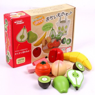 [FREESHIP] Bộ cắt hoa quả bằng gỗ WOODY PUDDY cho bé – Hàng Nhật