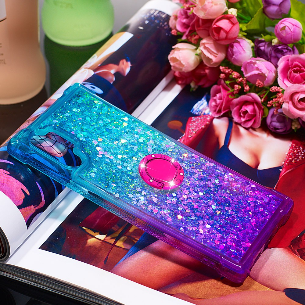 For Samsung Note 10 Plus Pro A20e A10e A20 A30 Gradient Glitter Quicksand Diamond TPU Bracket Ring Phone Case