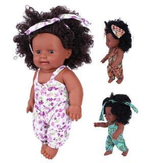 Punkstyle 30cm Infant Baby Dolls African Black Silicone Soft Baby Newborn Lifelike Dolls Toys For Children Girls Birthda