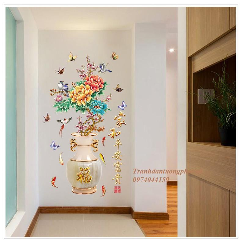 Decal dán tường 3D bình hoa mẫu đơn size to 90cm x 1m5