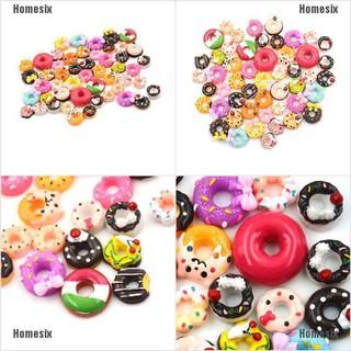 [QHMSI] 10Pcs DIY Phone Case Decor Crafts Miniature Resin Doughnut Dollhouse Food Supply TYU