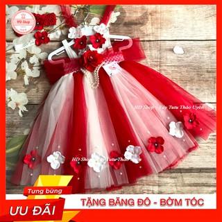 Đầm công chúa cho bé ❤️FREESHIP❤️ Đầm công chúa trắng phối đỏ hoa hồng tú cầu cho bé gái