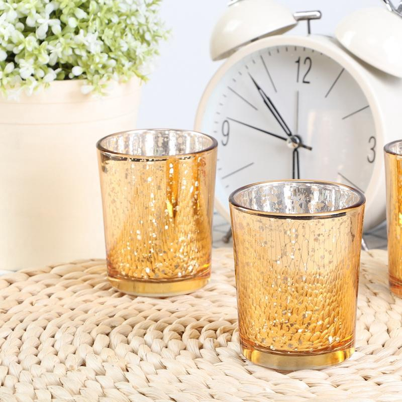 Meien 12Pcs/Set Gold Glass Candle Holder Candlestick Stand Home Wedding Decoration Ornament
