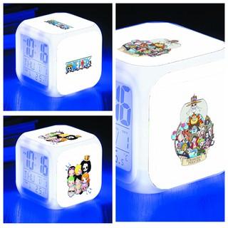 Đồng hồ báo thức để bàn in hình One Piece Đảo Hải Tặc anime chibi LED đổi màu