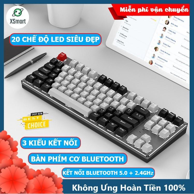 Bàn phím CƠ Bluetooth Không Dây Pin Sạc K950 LED đẹp, phím blue switch cho máy tính pc laptop, điện thoại, máy tính bảng