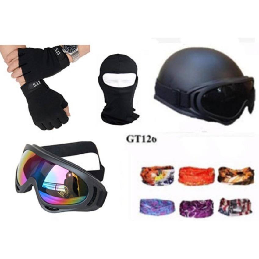 Mũ bảo hiểm 1/2 + kinh UV + găng hở ngón 511 đen + khăn phượt ( Màungẫu nhiên) + Mũ trùm ninja