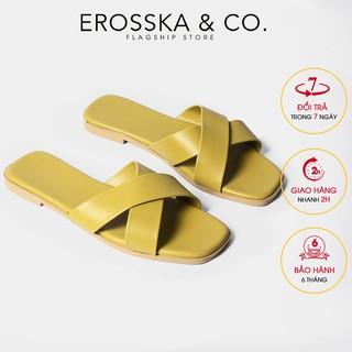 Dép đi biển thời trang Erosska 2021 quai chéo màu vàng _ DE029
