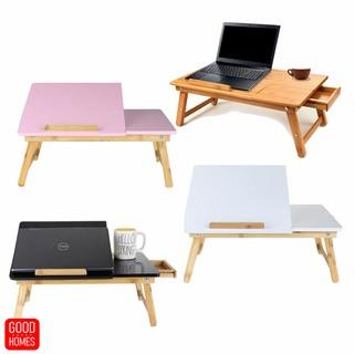 Bàn laptop gỗ tre - bàn laptop gấp gọn đa năng - mặt bàn nghiêng 5 cấp độ, có ngăn kéo [TABLIX-01]