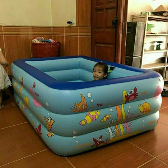 [XẢ HÀNG] Bể bơi phao 1m5 2 tầng, 3 tầng (tặng bộ miếng vá + h.d sử dụng)