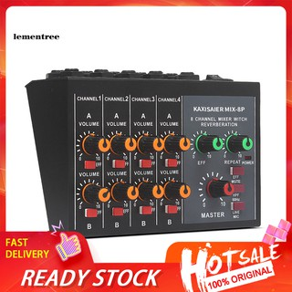 ✡WYB✡Portable Digital 8-Channel Stereo Sound Mixing Console Reverb Effect Audio Mixer