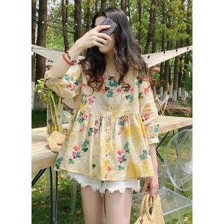 Áo kiểu mới cổ tròn cho mùa hè năng động áo phối tay phong cách Hàn Quốc thumbnail