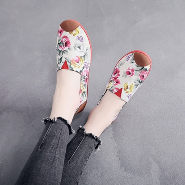 (Ảnh + video) Giày vải slip on hoa lá flowery