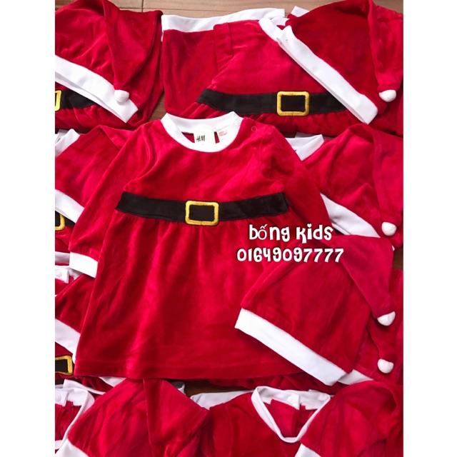 Bộ Nỉ Nhung Bé Gái Váy + Mũ Đỏ Noel H&M