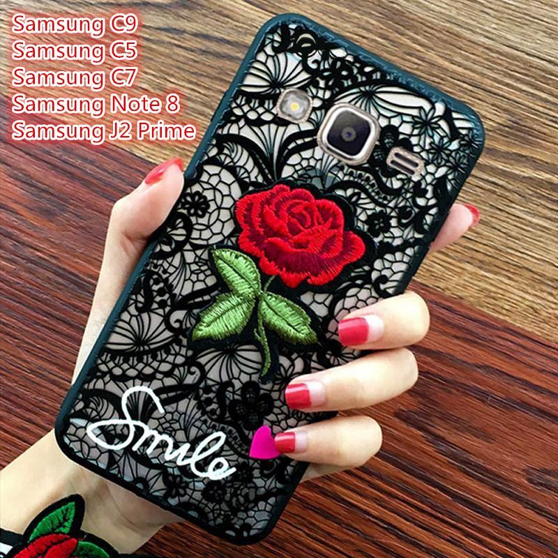 Ốp điện thoại họa tiết hoa hồng thêu độc đáo cho điện thoại Samsung Galaxy C9 C5 C7 Note 8 J2 Prime/G530
