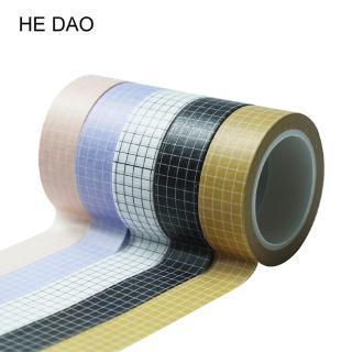 Cuộn băng dán bằng giấy Washi họa tiết kẻ sọc caro trang trí thủ công dài 10m thumbnail