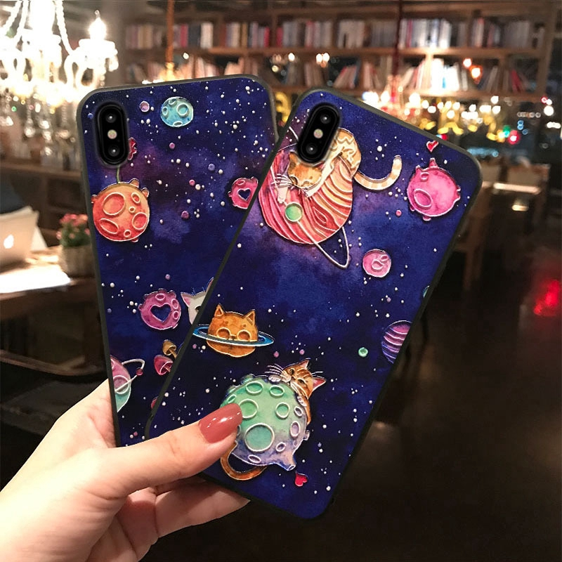 iPhone Case 4 Different Designs (All Models Available & Contact For Details) Cute Graphics Korea Fashion New Embossment Universe Romantic