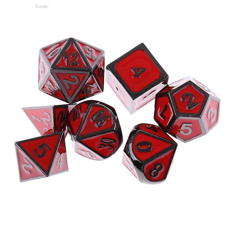 💗Sunei💗7Pcs Set Red Antique Metal Polyhedral Dice DND RPG MTG Role Playing Game