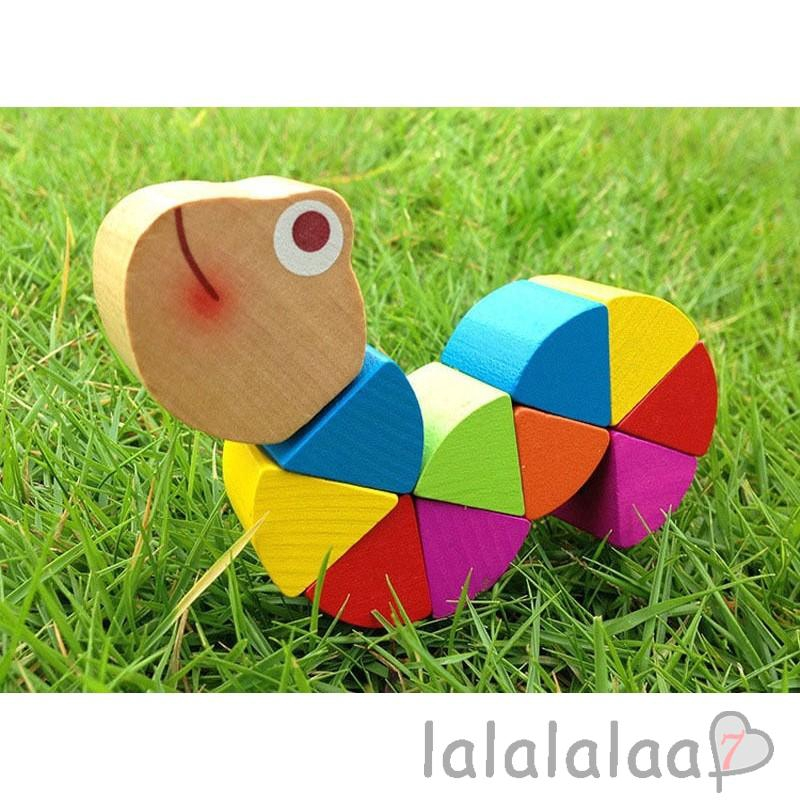 ❆☉❆Best Baby Kids Twist Caterpillar Wooden Teethings Toys Newborn