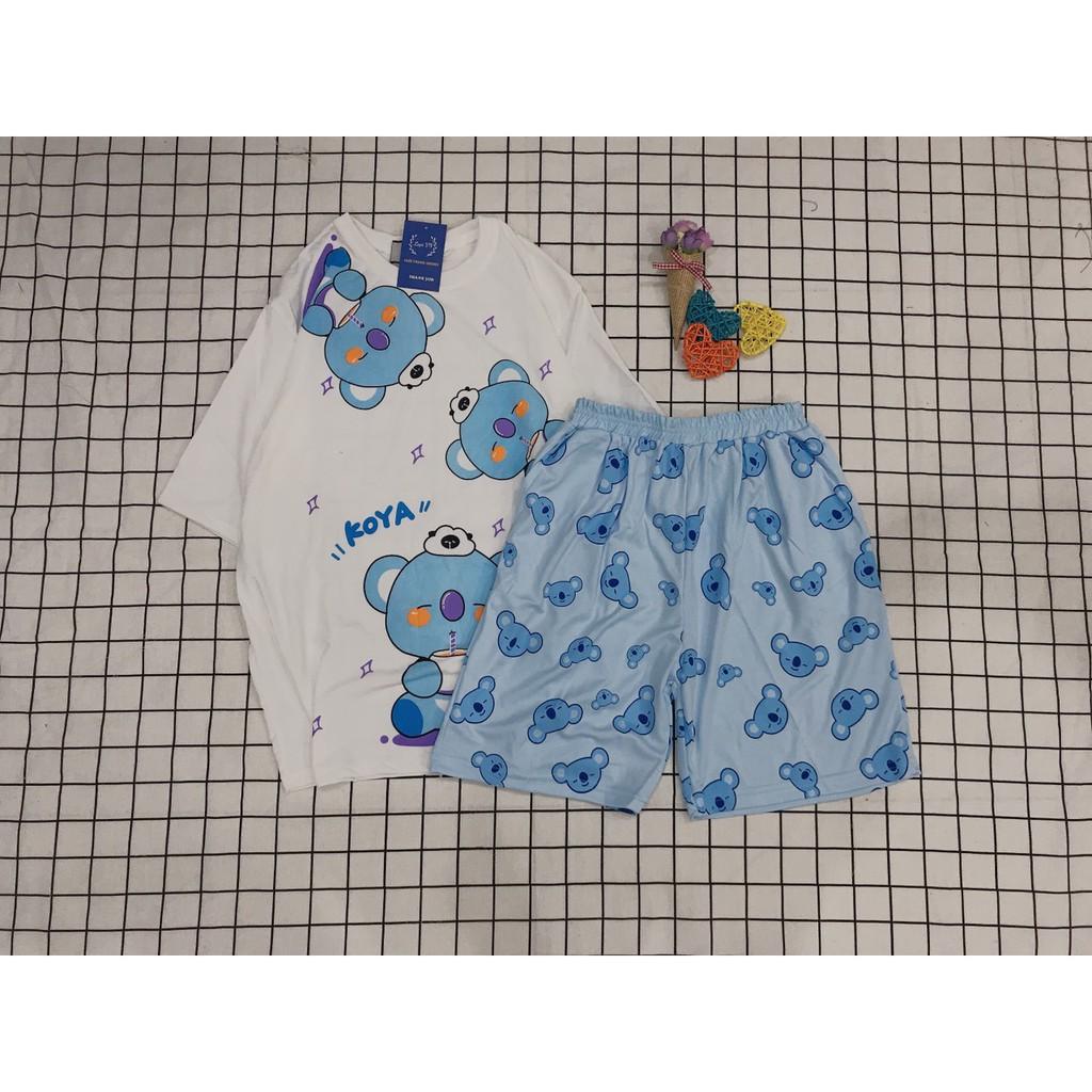 Set Đồ Bộ Gấu Teddy cartoon 3D Cute DB07-Lapi VN Áo+ Quần Đùi Vải Thun Cotton Thoáng Mát, Freesize Đến 70kg