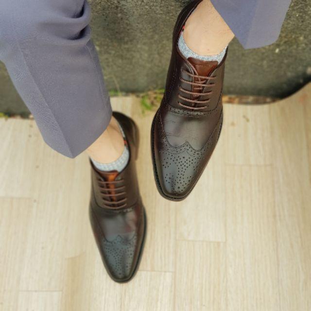 Giày tây nam đế phip cao cấp bh 1 năm da bò thật