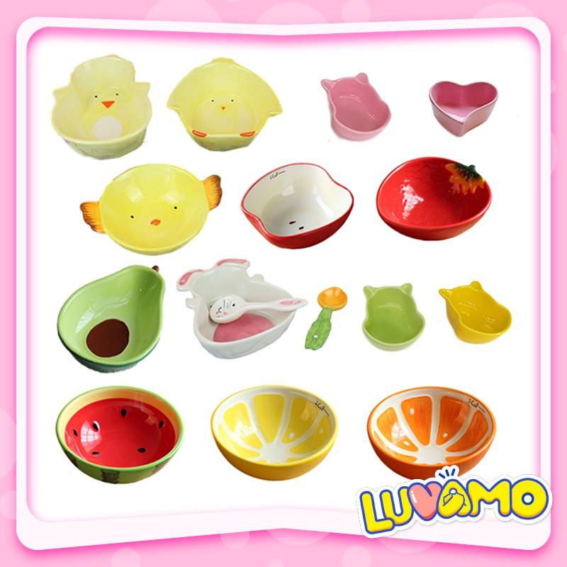 Bát sứ ăn dặm cho bé kiểu Nhật hình gấu thỏ trái cây dễ thương vui nhộn AD02