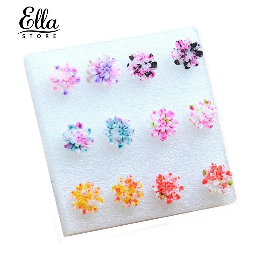 6 Đôi Bông Tai Hình Hoa Cúc Bằng Nhựa Nhiều Màu Sắc
