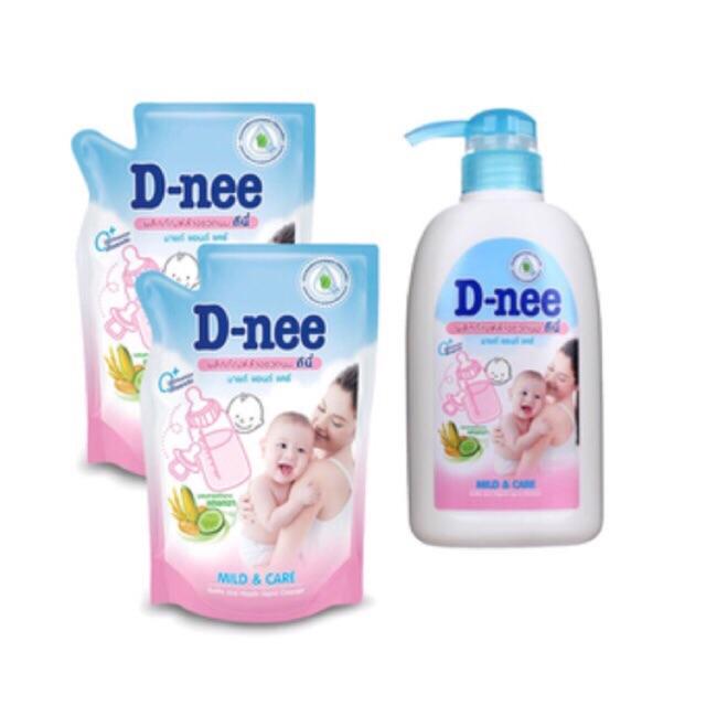 Combo 3 chai nước rửa bình Dnee 620ml và 3 túi Dnee 600ml